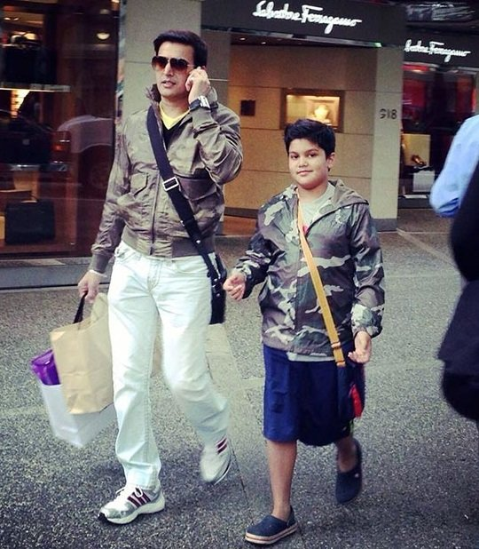 Jimmy Shergill and his son