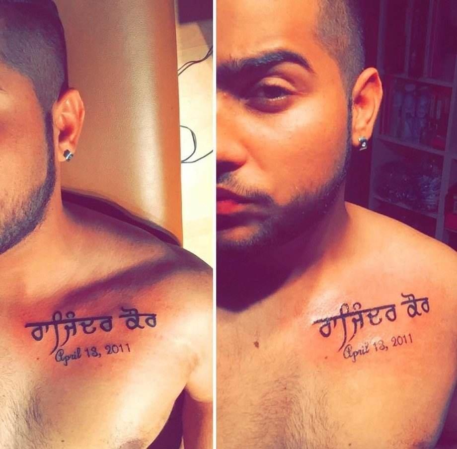Mother Name tattoo on Karan Aujla Chest